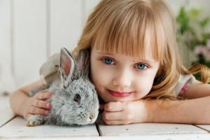 ペットのうさぎと並んでいる女の子の写真